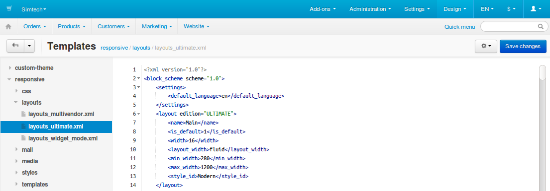 Template editor in CS-Cart
