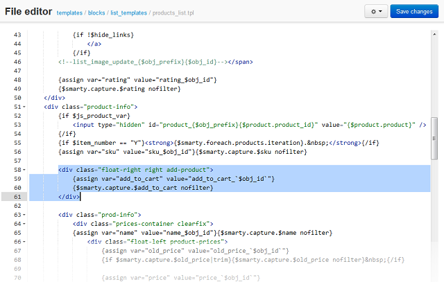 File editor — CS-Cart 4 2 x documentation