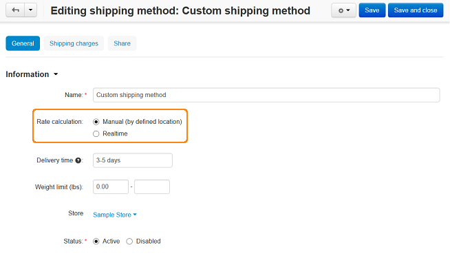 Creating a shipping method with pre-determined rates in CS-Cart.