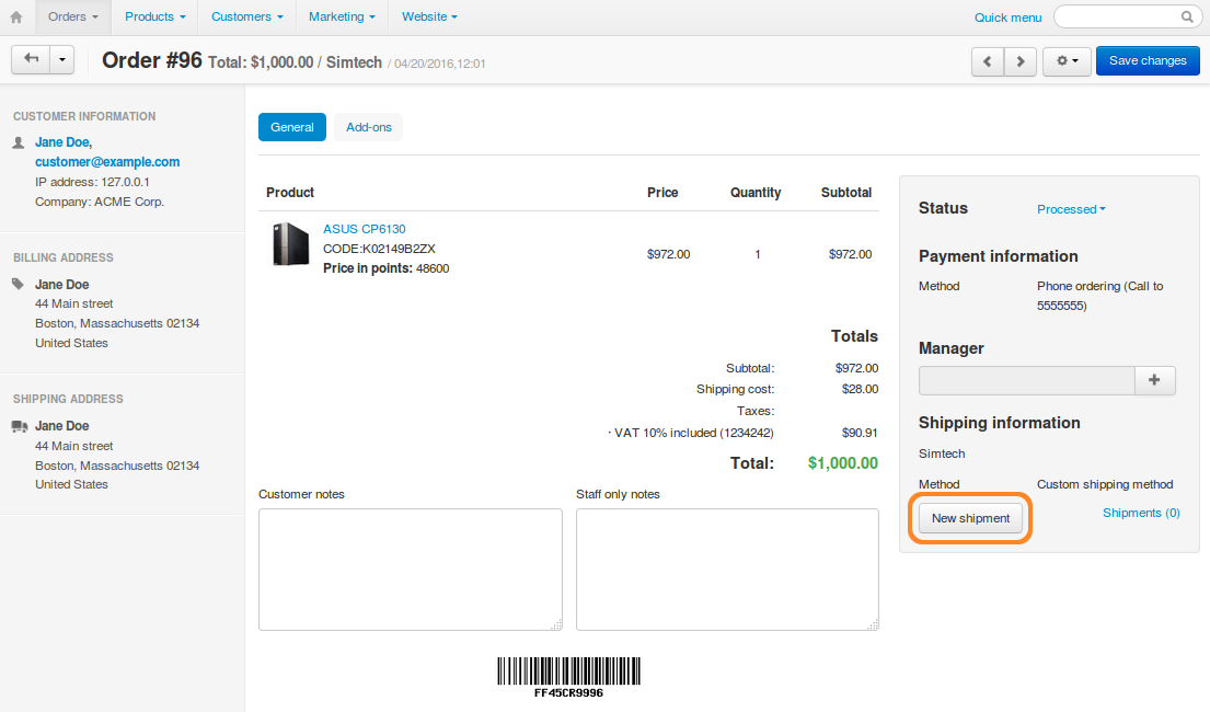 5a4406d3dae Press the Create New Shipment button in the Shipping Information section to  create a new shipment