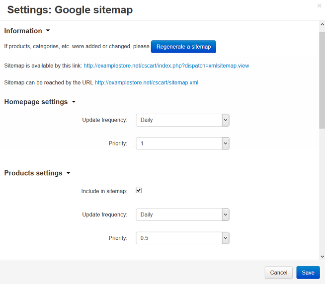 how to set up the google sitemap add on cs cart 4 3 x documentation