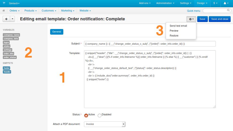 Email Templates Cs Cart 44x Documentation