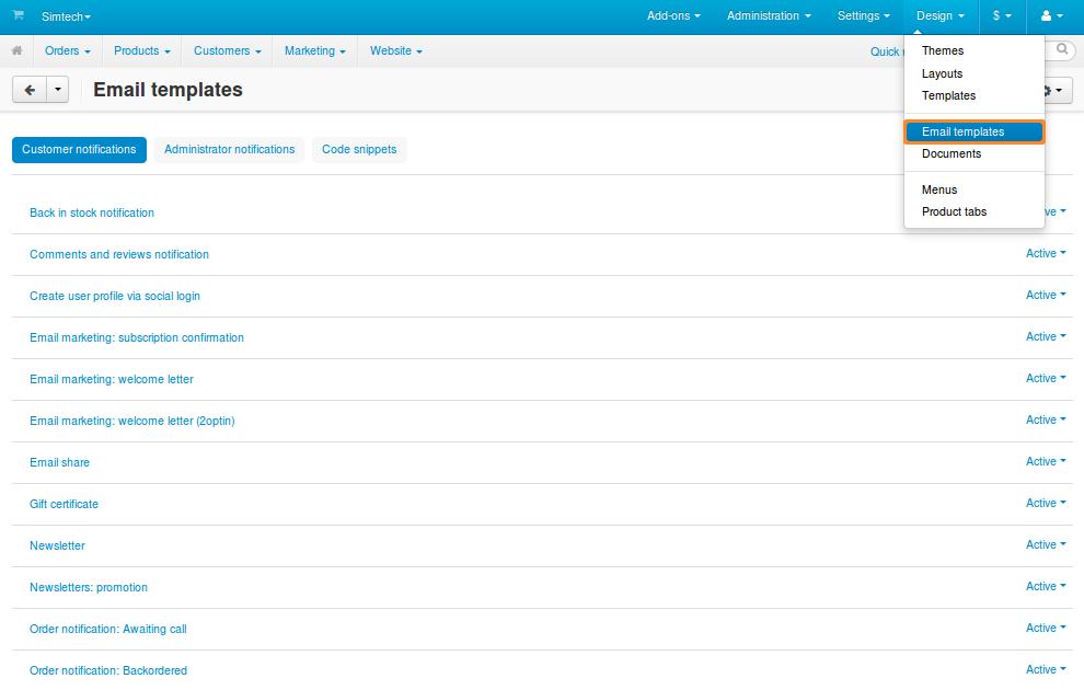 Email Templates — CS-Cart 4.4.x documentation