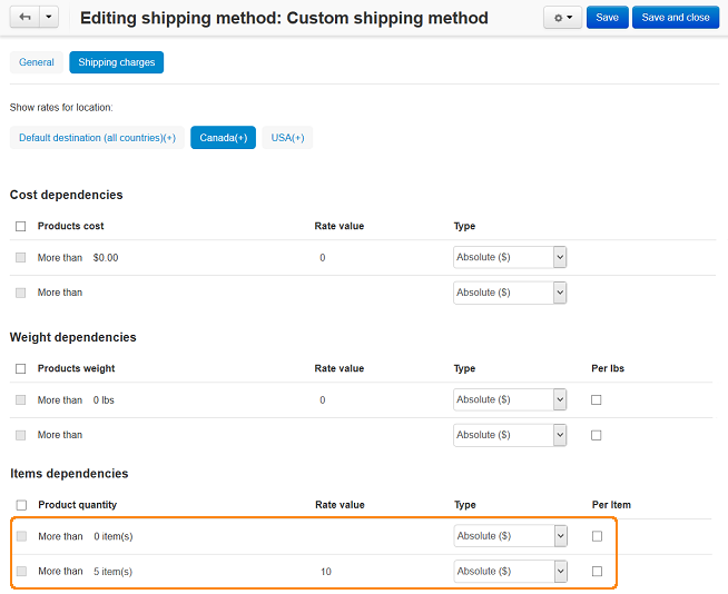 Editing shipping method