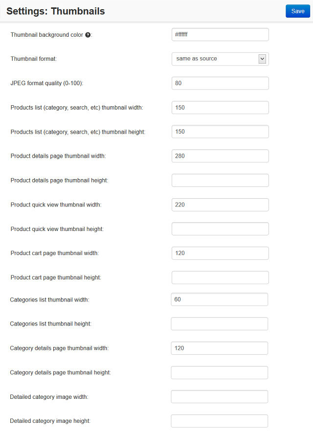 Fill in the fields in the Thumbnails settings to specify thumbnail size on various pages.