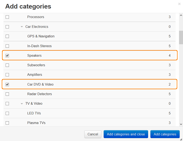 Add categories