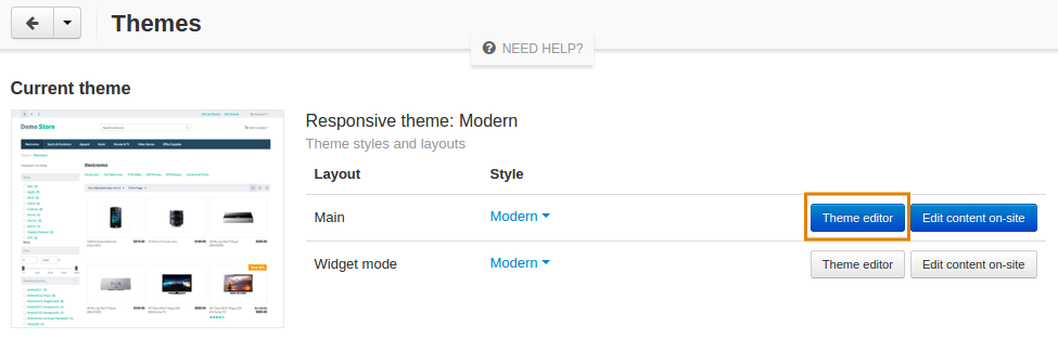 The Themes tab
