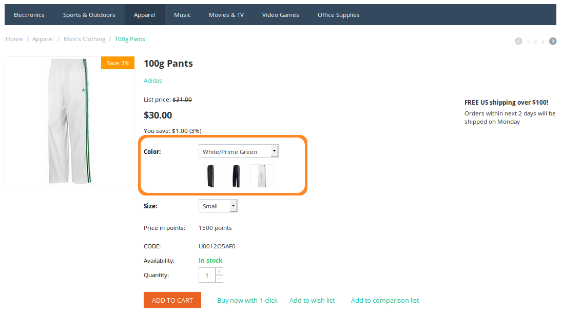 When customers click on the icons, they select the desired variant of the product option. This changes the option combination and the image of the product.