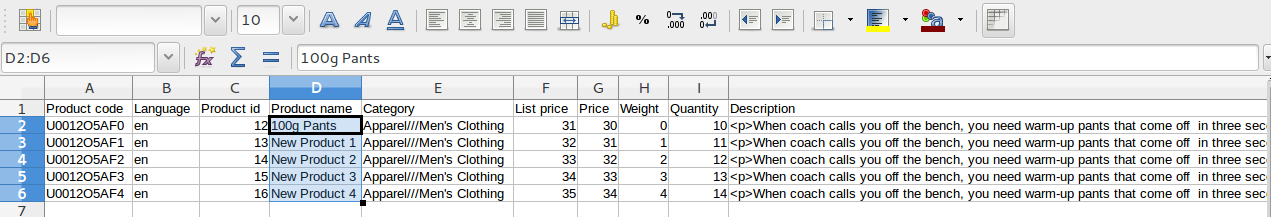 New products in the CSV file.