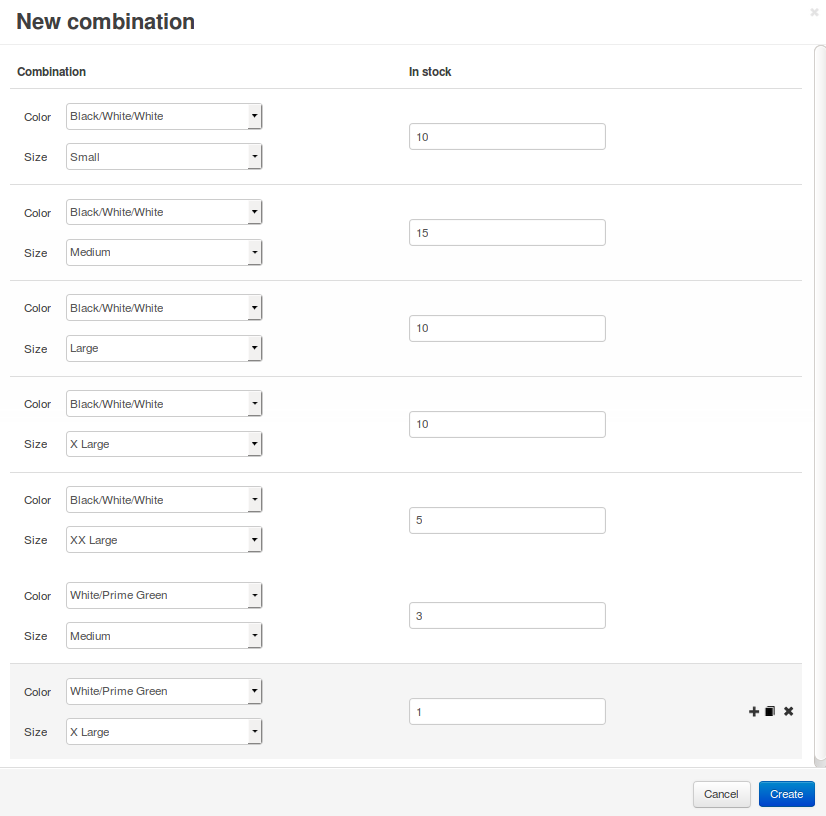 You can add multiple option combinations at once.