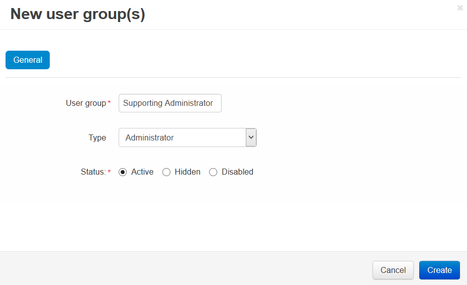 Specify the name and the type of the new user group.