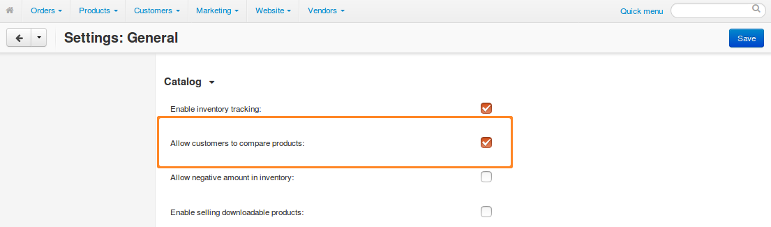 Go to Settings → General to make sure that product comparison is allowed.