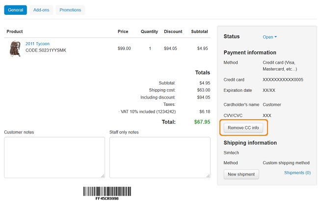 Remove credit cart information from order.