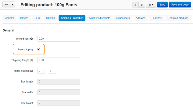 Product editing page