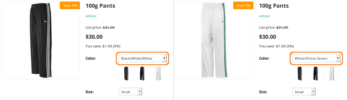 If you followed the steps described this article, the main image of the product will change when customers choose a different option combination.