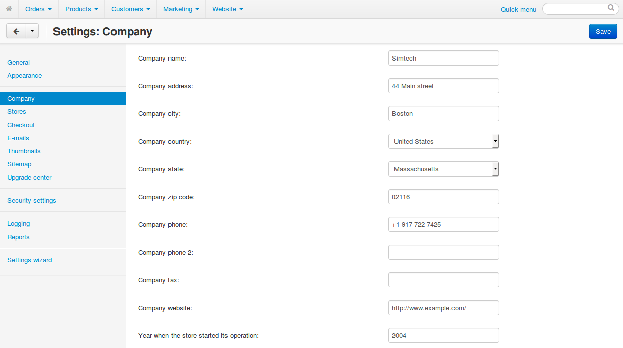 """The """"Settings → Company"""" page in CS-Cart contains the sender's address."""