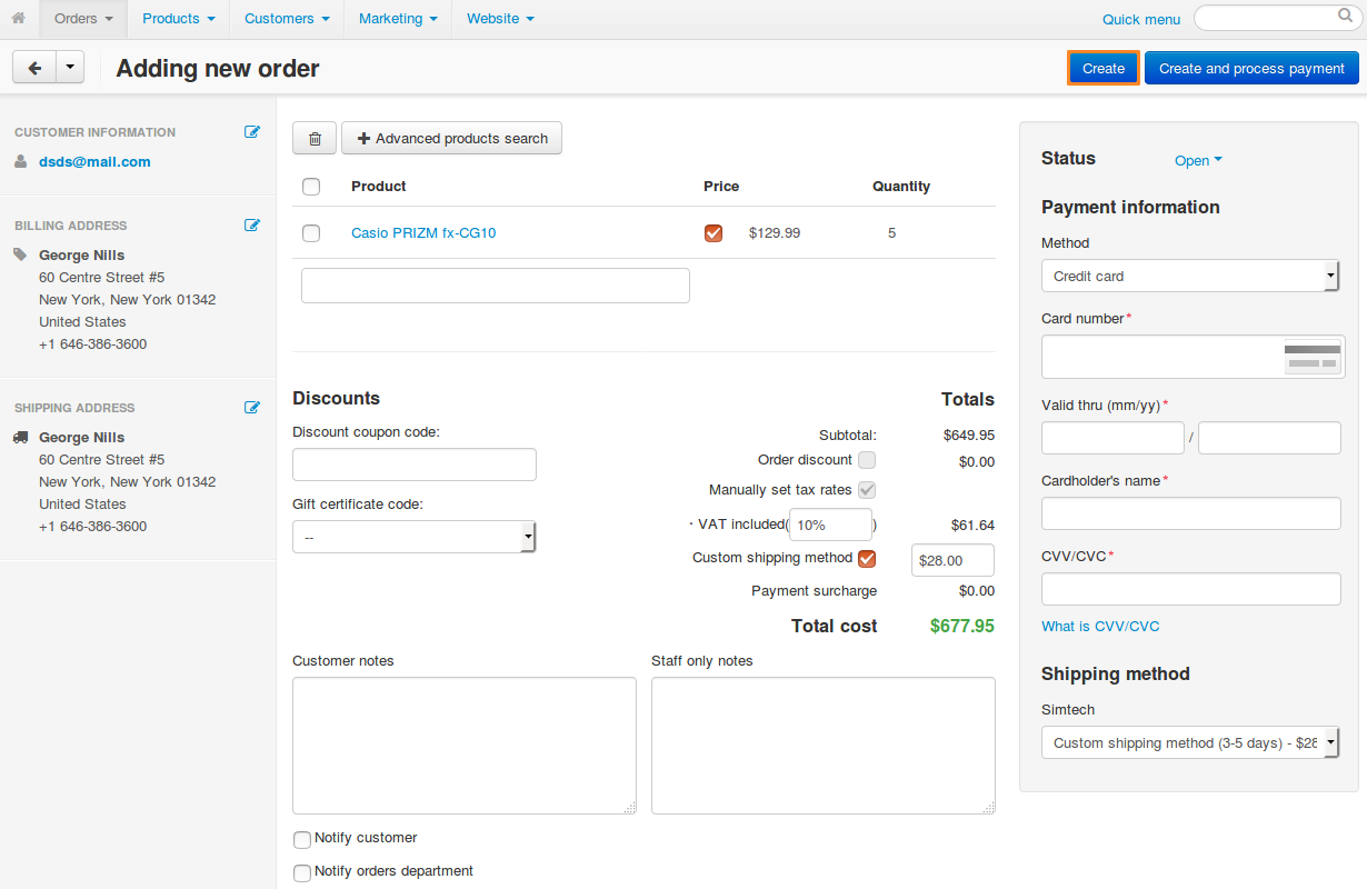 You'll be taken to the order creation page when you copy an order.