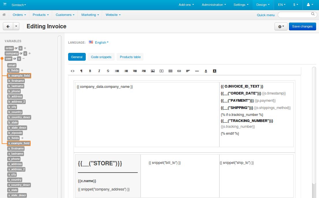 Custom profile fields on the list of variables.