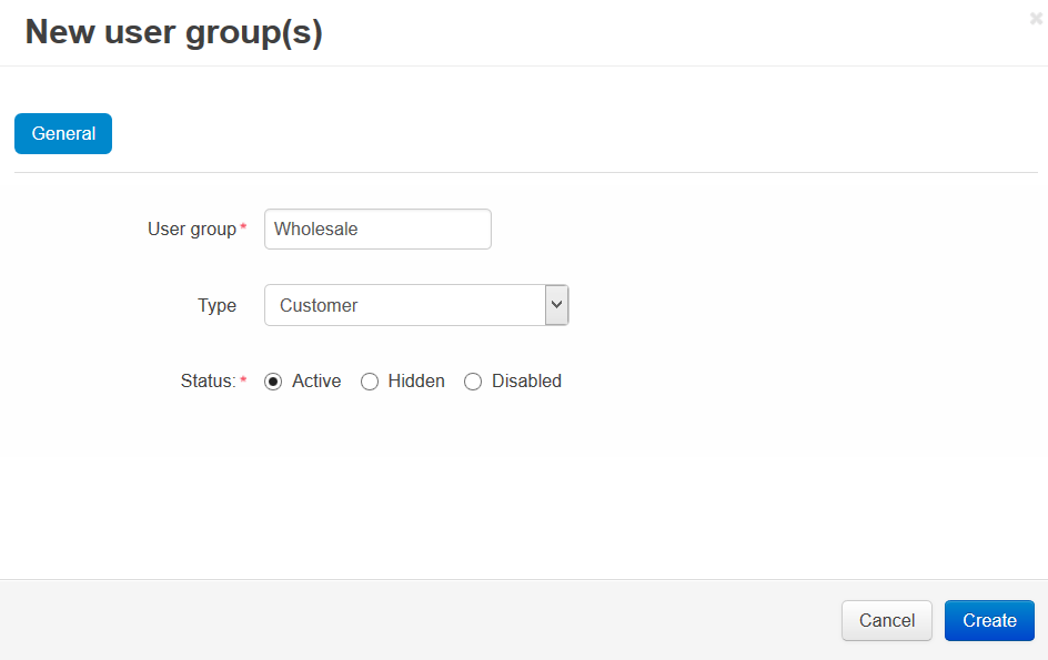 Specify the name and the type of the new customer group.