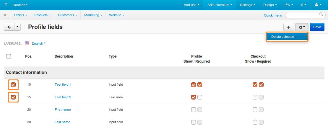 Deleting profile fields in CS-Cart.