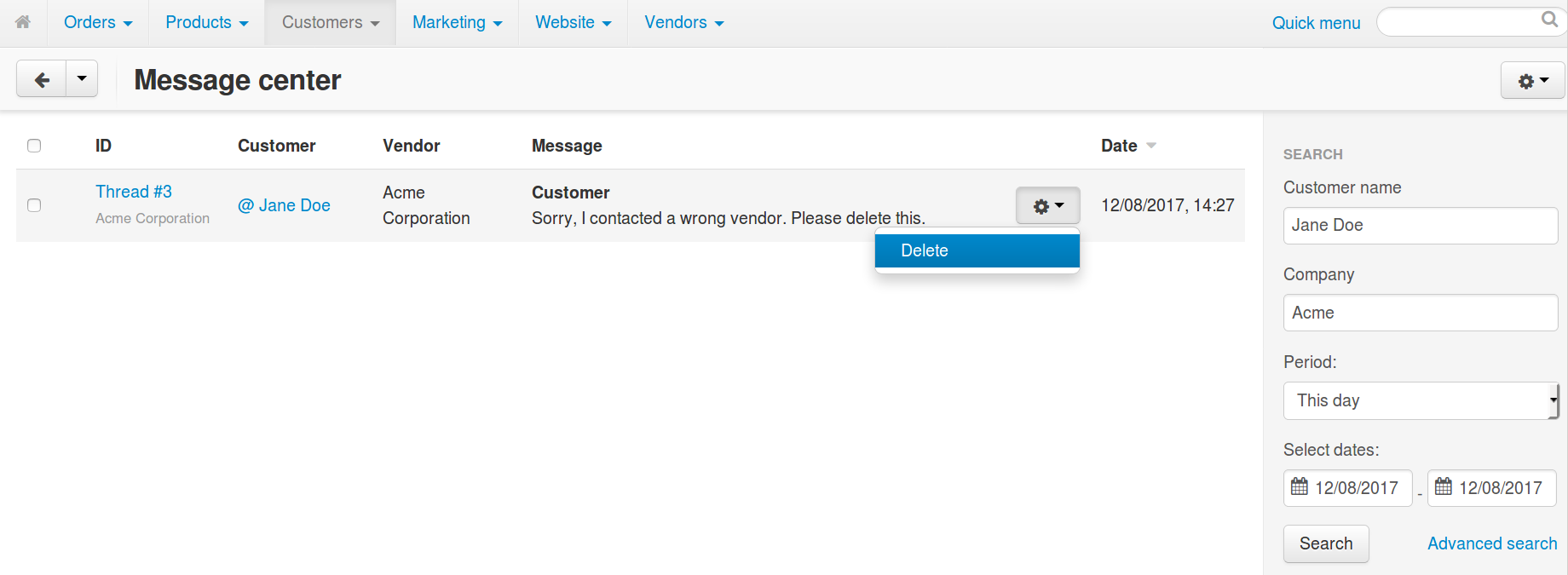 Deleting a thread with messages in Multi-Vendor.