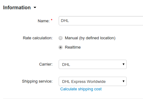 Name your shipping method and choose your Carrier and Shipping service.
