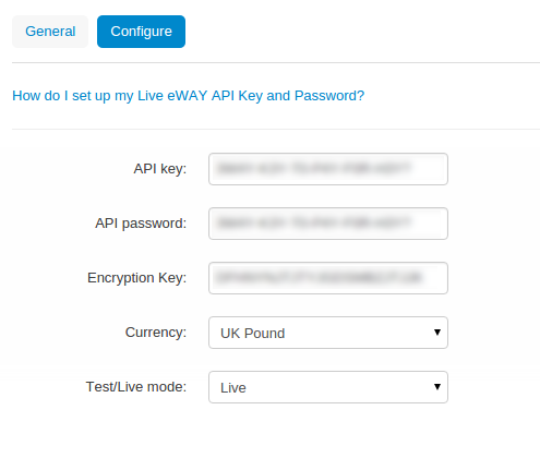 Name your payment method and select one of the two eWAY Rapid API processors.