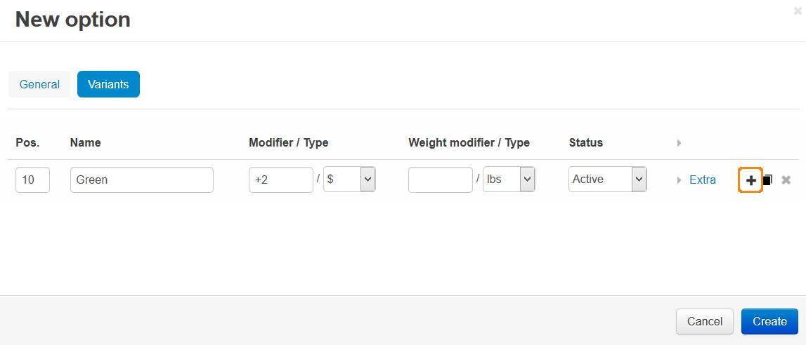 The properties of option variants in CS-Cart