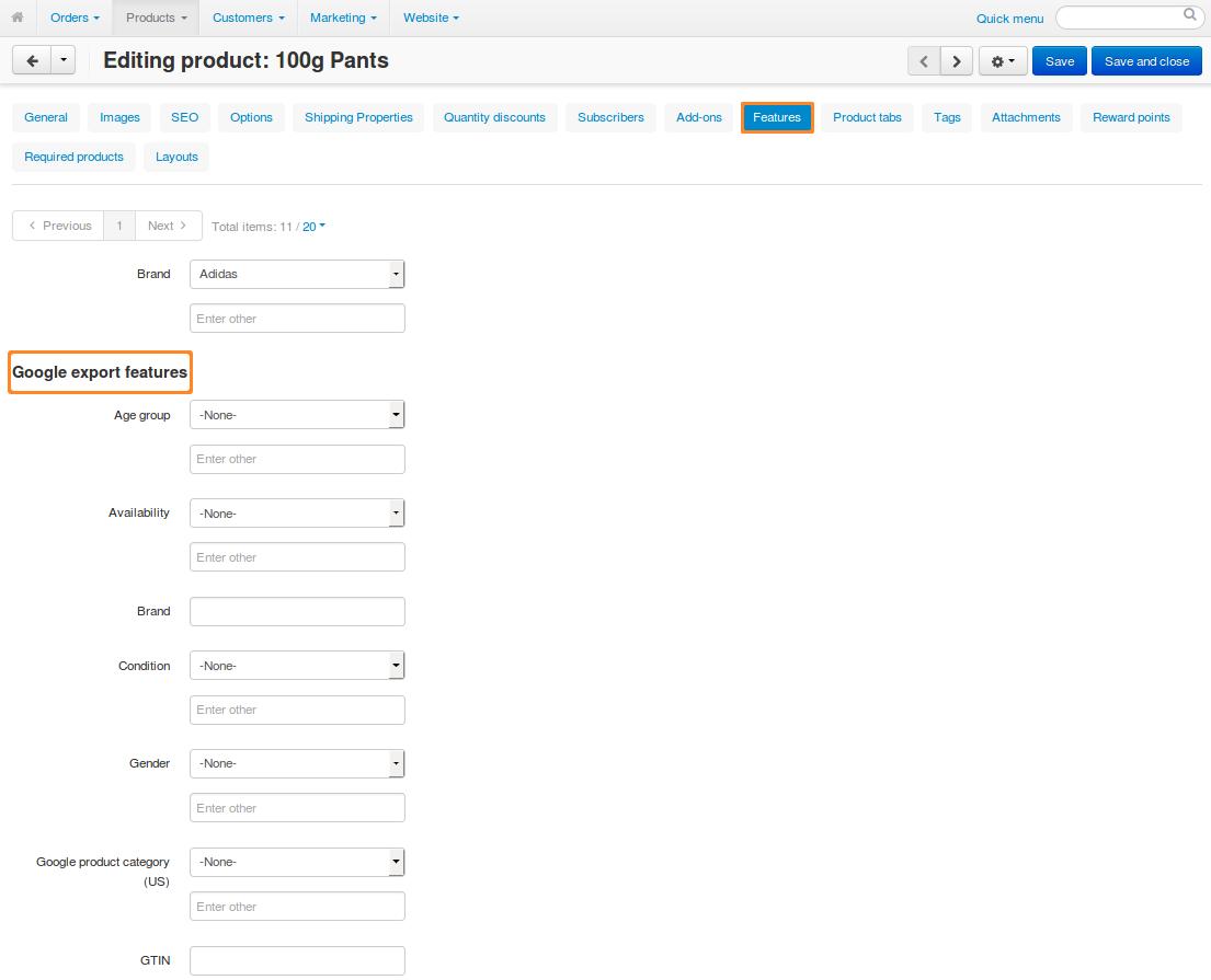 Google export features