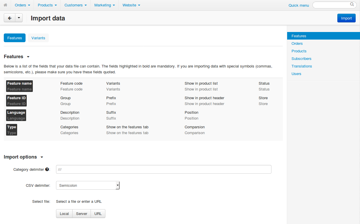 Different types of data have different imported fields and required settings.