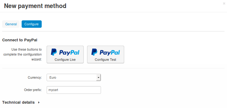 "Use one of the ""Connect to PayPal"" buttons to set up the add-on in Test or Live mode."