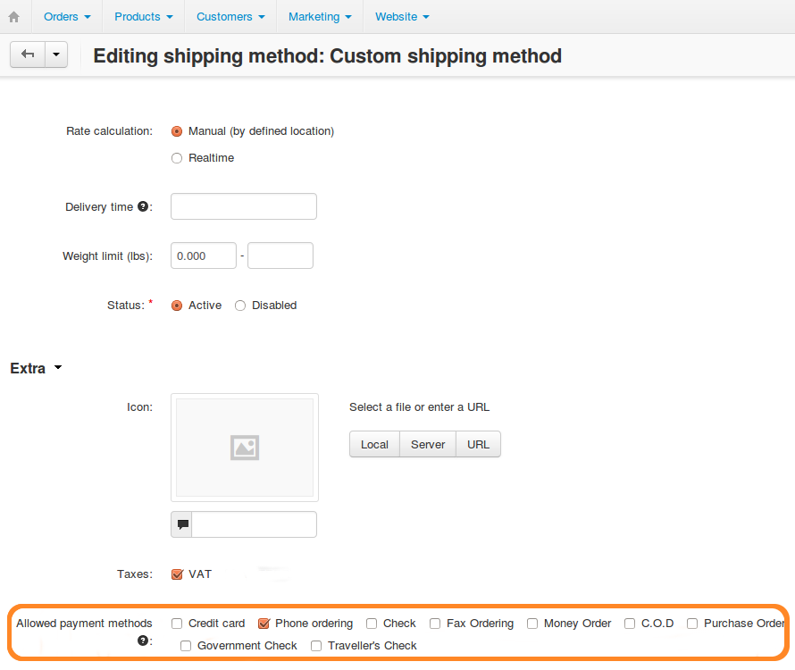 Tick the checkboxes of the payment methods you want to make available for the shipping method.