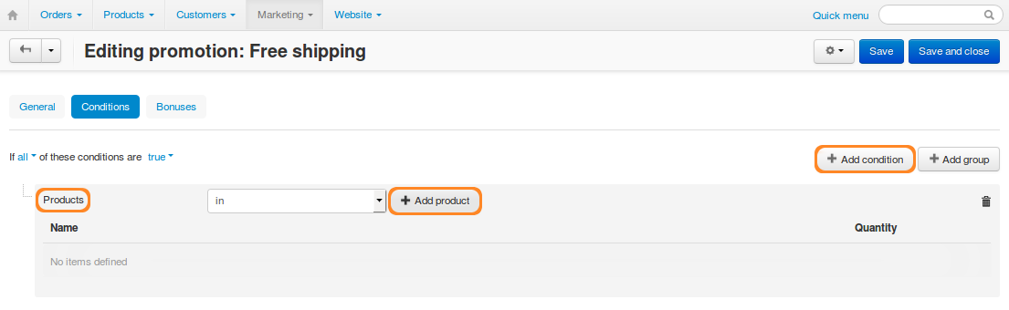 """Add a """"Products"""" condition."""