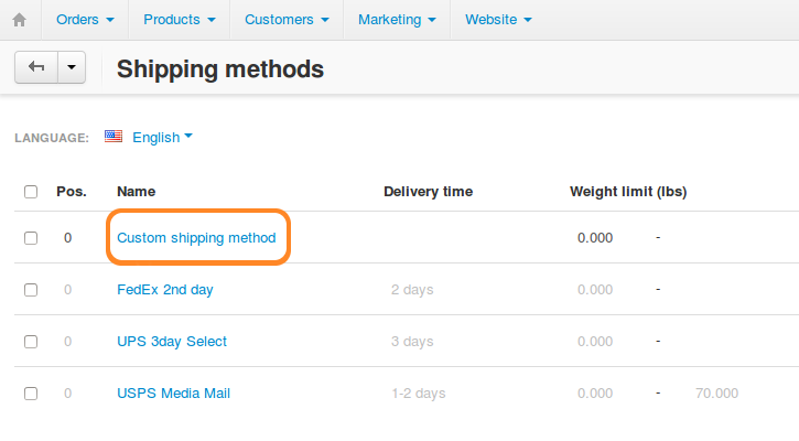 Find the desired shipping method on the list and click the name of that method.