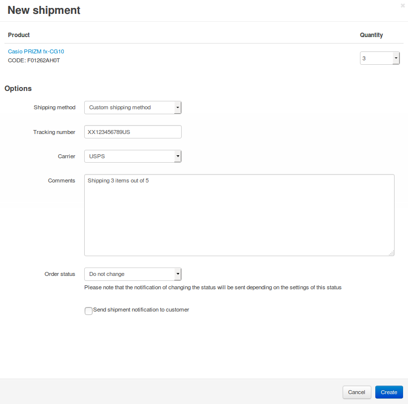 Fill in the form and press the Create button to create a shipment.