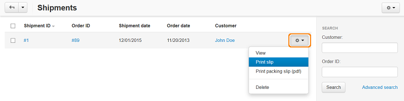 Create a package slip for a particular shipment.