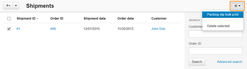 Create a package slip for multiple shipments.