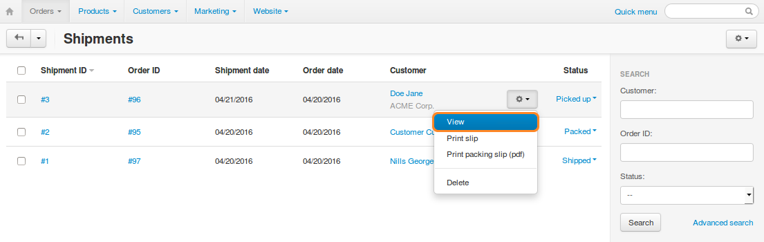 You can view all the existing shipments under Orders → Shipments.
