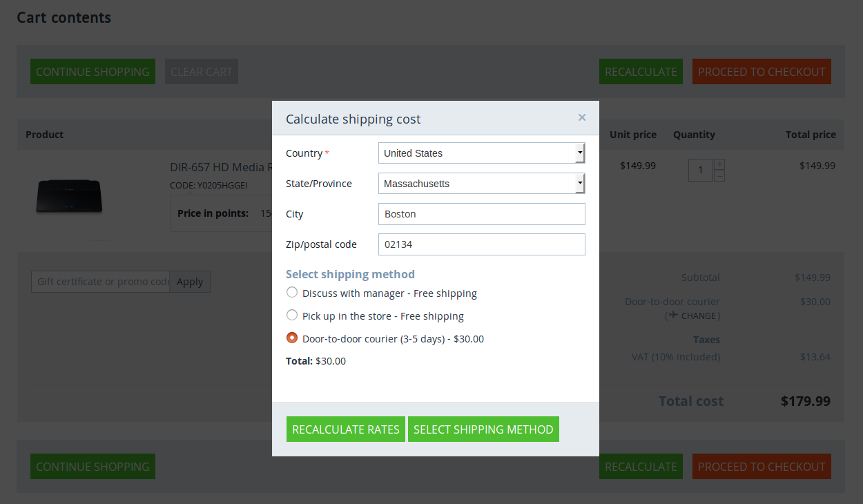The cart page allows you to calculate shipping rates.