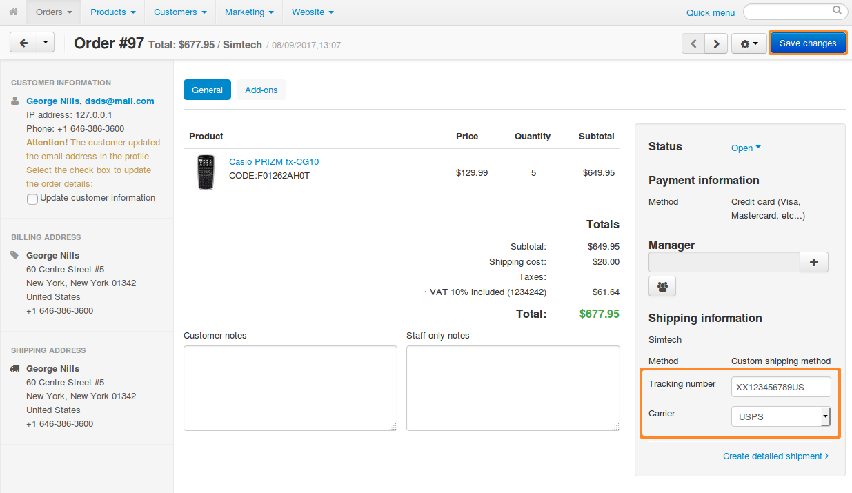 Press the Create New Shipment button in the Shipping Information section to create a new shipment.