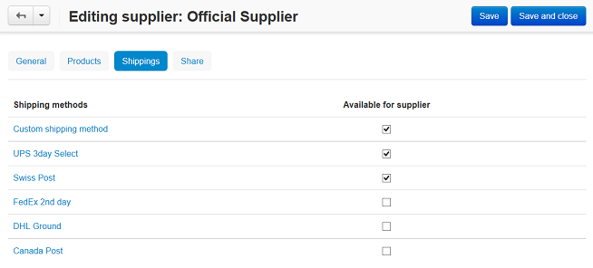 Tick the checkboxes to enable the corresponding shipping methods for the selected supplier.