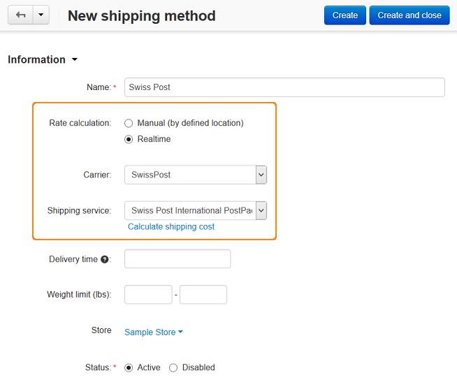 SwissPost shipping method in CS-Cart