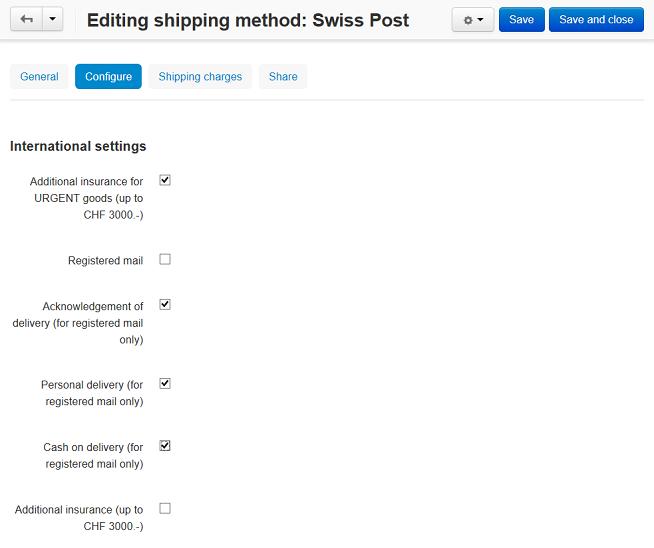 Configuring SwissPost in CS-Cart