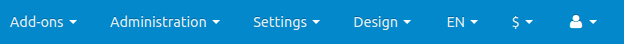 The blue bar on the top of the CS-Cart admin panel.