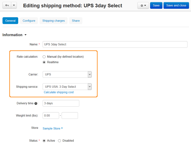 Setting up UPS shipping method in CS-Cart and Multi-Vendor.