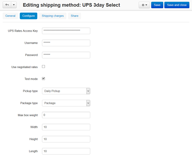 The settings of a UPS shipping method in CS-Cart and Multi-Vendor.