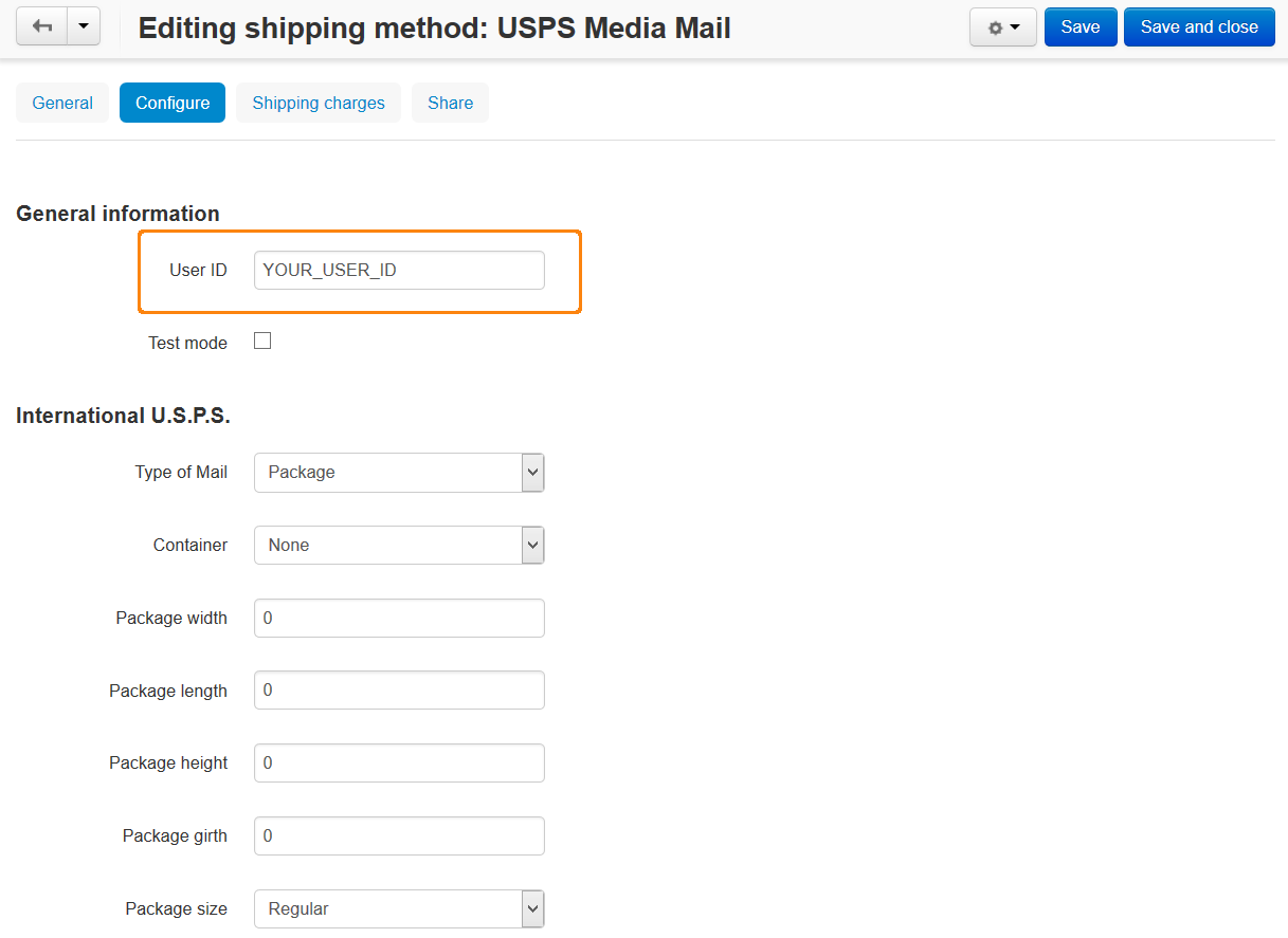 Configuring the USPS shipping method.