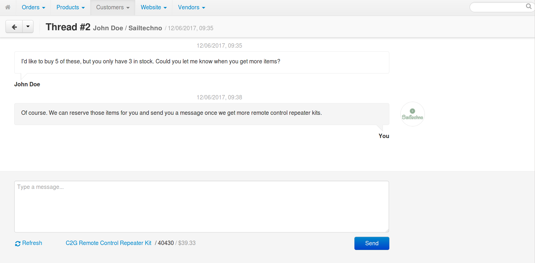 Replying to customer's message in Multi-Vendor.
