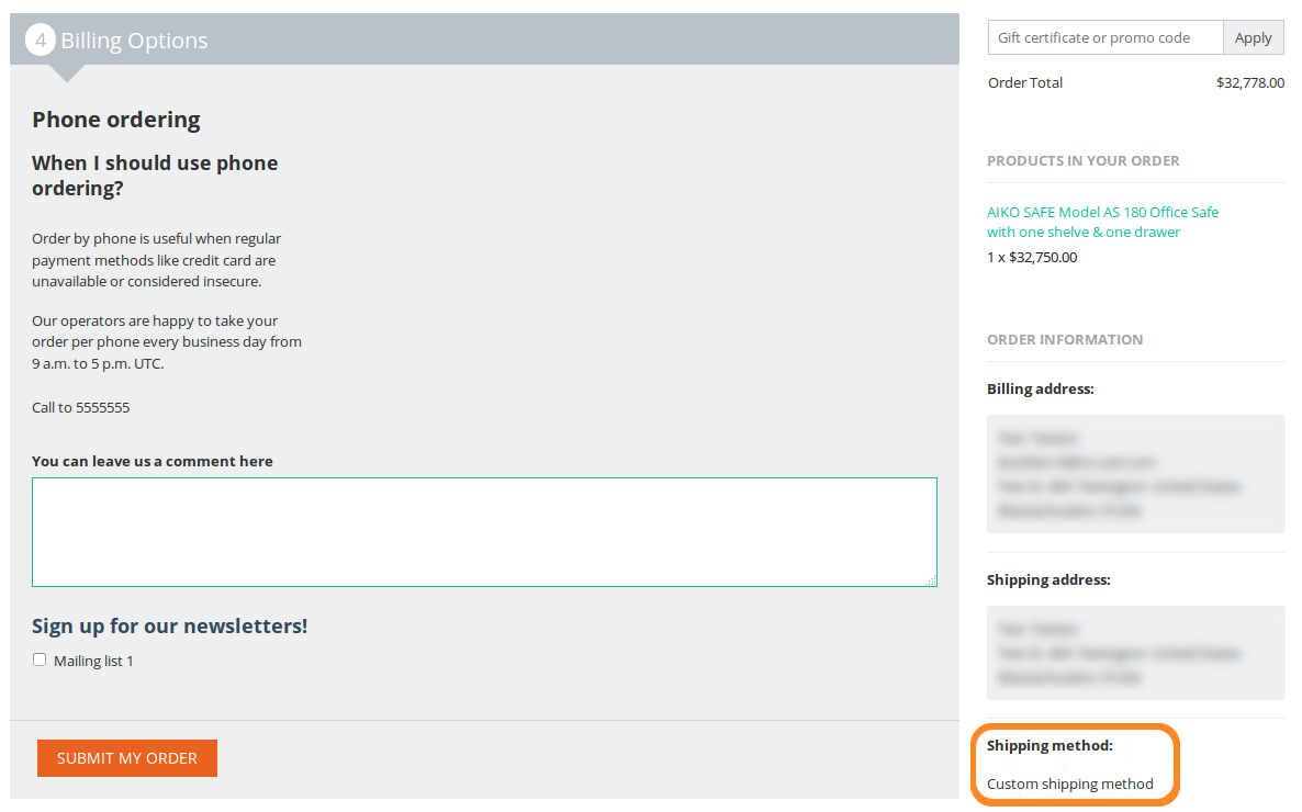 The customers who choose a shipping method with payment dependencies only see the allowed payment methods at checkout.