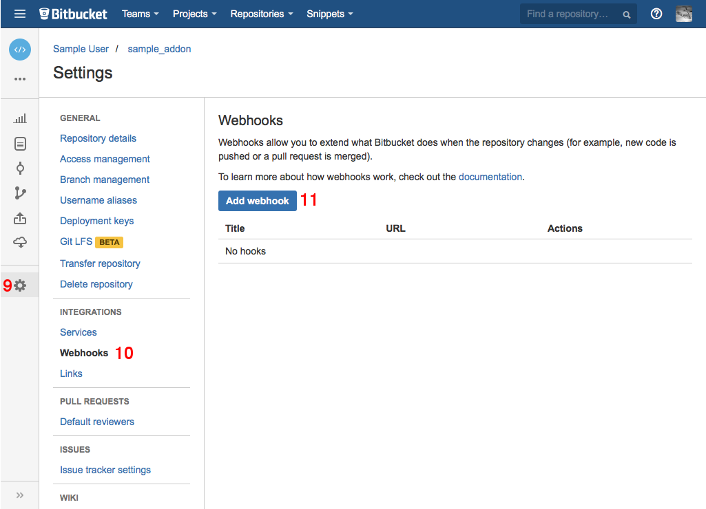 Go to Settings: Webhooks and add a new webhook.